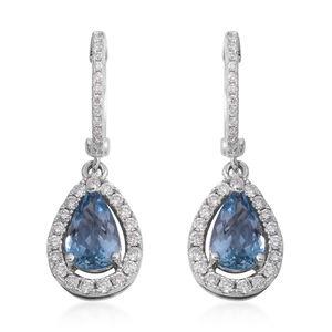 ILIANA 18K WG Santa Maria Aquamarine, Diamond Huggie Hoop Drop Earrings Total Diamond Weight 0.47 Carat, Total Gem Stone Weight 1.93 Carat
