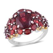 Mozambique Garnet 14K YG Over and Sterling Silver Ring (Size 6.0) TGW 9.48 cts.