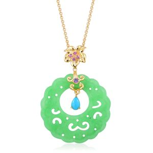 Burmese Green Jade, Multi Gemstone 14K YG Over Sterling Silver Pendant With Chain (18 in) TGW 21.62 cts.