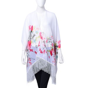 White 100% Polyester Floral Pattern Kimono with Tassels (One Size)
