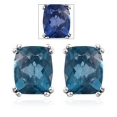 Color Change Fluorite Platinum Over Sterling Silver Stud Earrings TGW 6.40 cts.