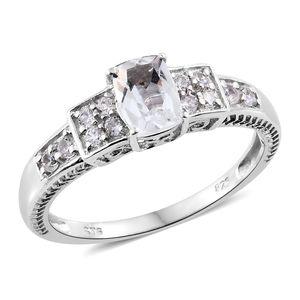 Brazilian Goshenite, Cambodian Zircon Platinum Over Sterling Silver Ring (Size 10.0) TGW 1.31 cts.