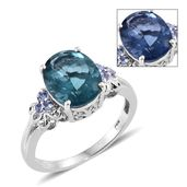 Color Change Fluorite, Tanzanite Platinum Over Sterling Silver Ring (Size 6.0) TGW 6.36 cts.