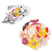 Chroma, Multi Color Austrian Crystal, Enameled Doultone Set of 2 Fish and Butterfly Garden Brooch TGW 3.22 cts.