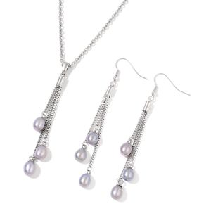 Freshwater Pearl - Silver Gray Stainless Steel Earrings and Pendant With Chain (24 in)