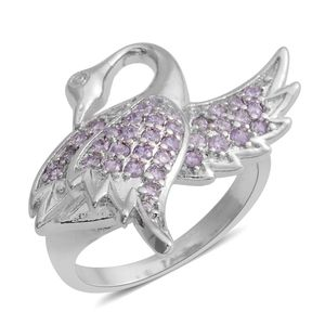 Simulated Tanzanite Silvertone Swan Ring (Size 7.5) TGW 0.30 cts.