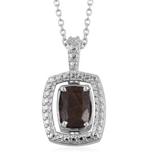 KARIS Collection - Chocolate Sapphire, Diamond Accent Platinum Bond Brass Pendant With Stainless Steel Chain (20 in) TGW 1.36 cts.