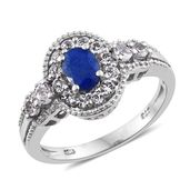 Blue Spinel, White Topaz Platinum Over Sterling Silver Ring (Size 10.0) TGW 1.90 cts.