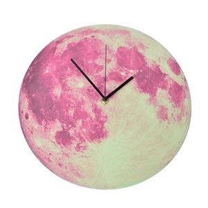 Pink and White Luminous Moon Wall Clock (11.8x11.8 in)