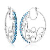 Malgache Neon Apatite, Cambodian Zircon Platinum Over Sterling Silver Hoop Earrings TGW 3.69 cts.