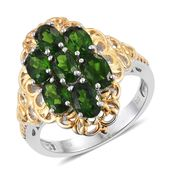 Russian Diopside 14K YG and Platinum Over Sterling Silver Ring (Size 10.0) TGW 4.10 cts.