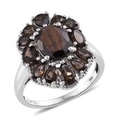 Chocolate Sapphire, Brazilian Smoky Quartz Platinum Over Sterling Silver Ring (Size 7.0) TGW 6.52 cts.