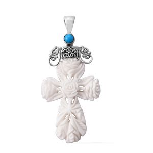 Bali Goddess Collection Carved Bone, Arizona Sleeping Beauty Turquoise Sterling Silver Floral Cross Pendant without Chain TGW 0.54 cts.