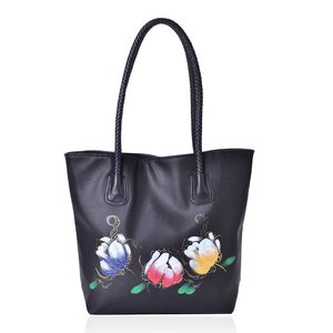 Black with Multi Color Flower Pattern Faux Leather Tote Bag (15.6x11.4x13 in)