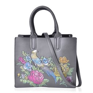 Gray, Multi Color Flower and Bird Embossed Faux Leather Structured Tote with Removable Shoulder Strap (12.5x5x10.5 in)