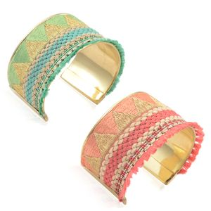 Set of 2 Handcrafted Multi Color Seed Bead, Thread Goldtone Cuffs