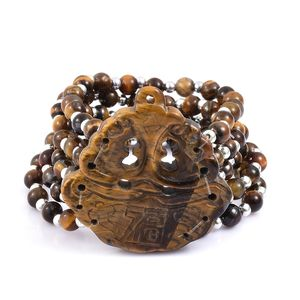 South African Tigers Eye, Resin Charm Bracelet (7.00 In) TGW 277.20 cts.