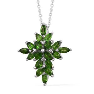 Russian Diopside Platinum Over Sterling Silver Cross Pendant With Chain (20 in) TGW 1.44 cts.