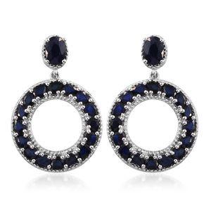 Kanchanaburi Blue Sapphire Platinum Over Sterling Silver Earrings TGW 7.95 cts.