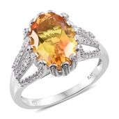 Sphaleros Quartz, Cambodian Zircon Platinum Over Sterling Silver Ring (Size 7.0) TGW 7.01 cts.