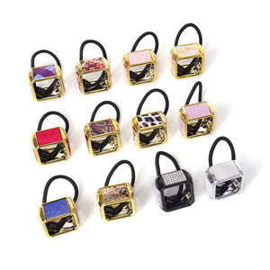 Set of 12 Multitone, Chroma Square Cuff Ponytail Holders