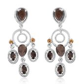 Chocolate Sapphire, Brazilian Smoky Quartz, Brazilian Citrine Platinum Over Sterling Silver Chandelier Earrings TGW 5.66 cts.