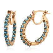 Malgache Neon Apatite 14K YG Over Sterling Silver Inside Out Hoop Earrings TGW 2.75 cts.