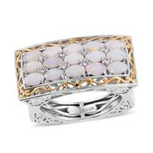 Australian White Opal, Cambodian Zircon 14K YG and Platinum Over Sterling Silver Euro Style Ring (Size 7.0) TGW 2.11 cts.