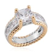Simulated Diamond ION Plated 18K YG and Platinum Bond Brass Ring (Size 9.5) TGW 5.13 cts.