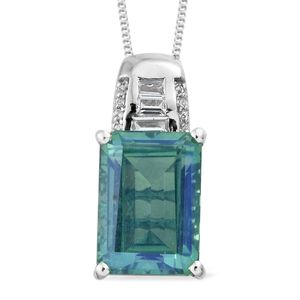 Peacock Quartz, White Topaz Platinum Over Sterling Silver Pendant With Chain (20 in) TGW 8.46 cts.