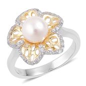 Japanese Akoya Pearl (7.5-8 mm), White Zircon 14K YG and Platinum Over Sterling Silver Pierced Floral Ring (Size 11.0) TGW 0.40 cts.
