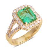ILIANA 18K YG Boyaca Colombian Emerald, Diamond Ring (Size 7.0) TDiaWt 0.65 cts, TGW 2.93 cts.