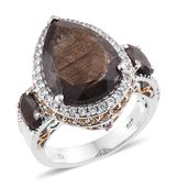 Chocolate Sapphire, Multi Gemstone 14K YG and Platinum Over Sterling Silver Ring (Size 8.0) TGW 16.36 cts.