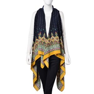 Navy with Multi Color Diamond & Flower Pattern 100% Polyester Kimono (37.41x56.70 in)