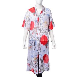 White 100% Polyester Flower Pattern Kimono (23.63x43.31 in)