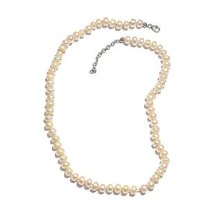 Freshwater Pearl Platinum Over Sterling Silver Necklace (20-22 in) with Lobster Clasp