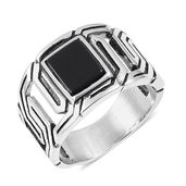 Enhanced Black Agate Black Oxidized Stainless Steel Men's Ring (Size 9.0) TGW 5.00 cts.