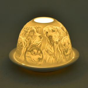 Set of 2 Dog Engraved Ceramic Candle Holders with LED Light (5x3 in)