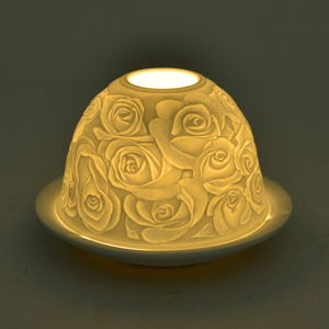 Set of 2 Rose Engraved Ceramic Candle Holders with LED Light (5x3 in)