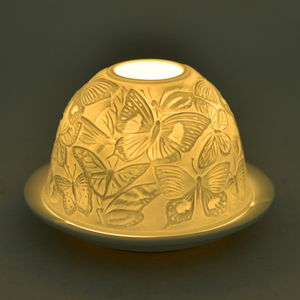 White and Yellow Butterfly Pattern Porcelain LED Light Candle Holder (5x5x3.3 in)