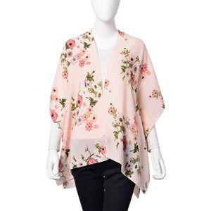 Pink 100% Polyester Flower Pattern Kimono (35.4x27.6 in)
