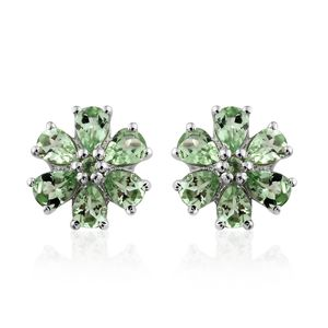 Tony's Collector Show Tsavorite Garnet Platinum Over Sterling Silver Floral Stud Earrings TGW 2.15 cts.