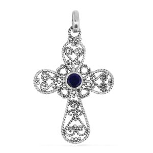 Bali Legacy Collection Amethyst Sterling Silver Cross Pendant without Chain TGW 0.80 cts.
