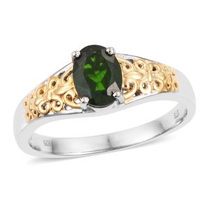 Russian Diopside 14K YG and Platinum Over Sterling Silver Ring (Size 8.0) TGW 1.25 cts.