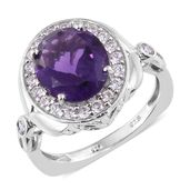 Lusaka Amethyst, Cambodian Zircon Platinum Over Sterling Silver Ring (Size 7.0) TGW 5.24 cts.