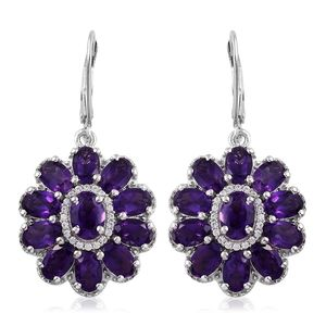 One Time Only Lusaka Amethyst, Cambodian Zircon Platinum Over Sterling Silver Lever Back Floral Earrings TGW 9.60 cts.