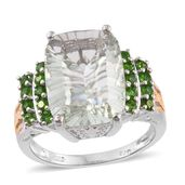 Green Amethyst, Russian Diopside 14K YG and Platinum Over Sterling Silver Ring (Size 9.0) 0 TGW 9.36 cts.