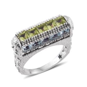GP Multi Gemstone Platinum Over Sterling Silver Ring (Size 5.0) TGW 8.36 cts.