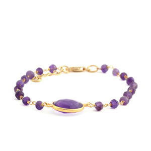 Amethyst 14K YG Over Sterling Silver Beaded Bracelet (7.00 In) TGW 2.05 cts.