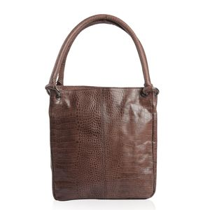 Dark Brown Genuine Leather Croco Embossed RFID Shoulder Bag (11x7x12 in)